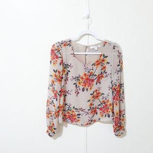 Forever 21 beige & orange floral printed blouse
